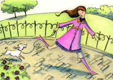 Aceo Print -Walk in the Park - woman, pets, Poodle, dog