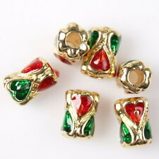 15pcs 112760 Golden Tone Enamel Red&Green Heart Tube Charms Alloy Spacer Beads