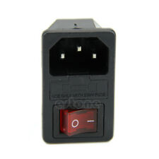 New Black Red AC250V 10A 3 Terminal Power Socket with Fuse Holder