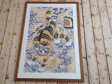 Coreano minhwa Folk Pintura Tigre y las nubes Enmarcado