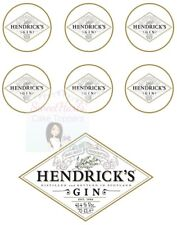 HENDRICKS GIN CAKE TOPPER BOTTLE LABEL CUPCAKE TOPPER SET EDIBLE PRINTED ICING