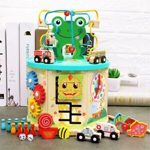 Educational Toys Kids Baby Wooden Activity Box Beaded Maze Toddler Activity Cube