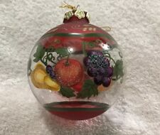 Vintage Glass Hand Painted Fruits Christmas Ornament