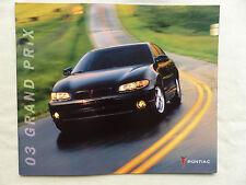 Pontiac USA - 2003 Grand Prix SE GT GTP - US-Prospekt Brochure 2002