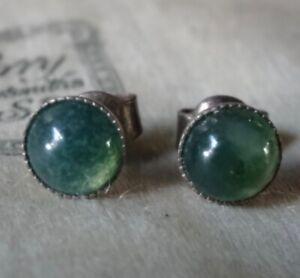 vintage 925 STERLING SILVER green MOSS AGATE stone stud pierced earrings -79