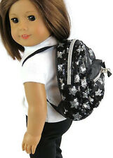"""Black & Silver Sequined Backpack made for 18"""" American Girl Doll Clothes"""