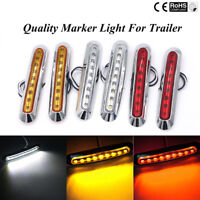 Waterproof 9 LED Chrome Front Side Marker Indicator Lights Truck Trailer Van 12V