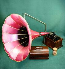 Sehr schöner originaler Edison Standart Phonograph mit großen Salon Trichter