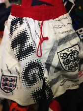 ENGLAND ITALIA 90  1990/2 AWAY LEISURE short 28 30  INCH in RED/NAVY £10bnwl