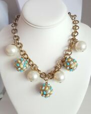 "RJ Graziano Chunky Faux Pearl Oval Cab Studded Bead Goldtone 20"" Necklace Signed"