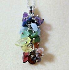 Gemstone Chip Pendant Necklace Chakra Reiki Festival Boho Hippie Colourful