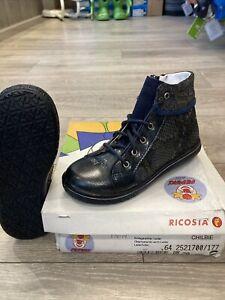 Girls Ricosta Navy Snakeskin Pattern Leather Zip / Lace Boots Uk Size 10 Euro 28