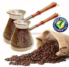 Cezve Turkish Coffee Pot Wooden Handle Ibrik Solid Hammered Copper Coffee Maker