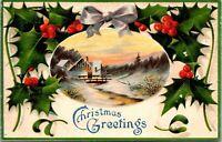 Embosssed Greetings Postcard - Christmas Greetings, Moon/Holly/Stars