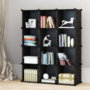 Classic Black 12 Cubes Storage Kid Cabinet Wardrobe Toy Book Shelve AU Stock