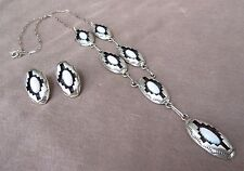 Navajo Sterling Silver & Opal Necklace & Earrings Set by Felix Perry JN0154