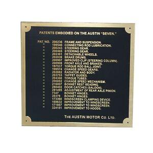 Austin 7 Seven Ruby Car Dashboard Patents Plate Badge Brass plate 1937-39 ECs