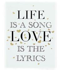 Segno di amore in legno dorato Muro Appeso Placca 15cmx20cm ~ la vita è una canzone