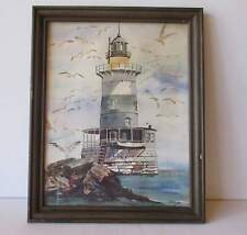 "LIGHTHOUSE PAINTING IN GLASS WOOD FRAME - 16"" X 12 1/2"" - EXCELLENT - FREE SHPG"