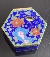Gorgeous Vintage Cloisonne Enamel Box Birds Flowers Hexagon