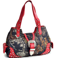 New Womens Handbag Camouflage Faux Leather Shoulder Bag Hobo Rhinestone Purse