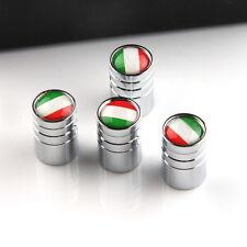 4x Italy Italian Flag - Tire Rim Valve Stem Caps - Silver White-Stainless Steel