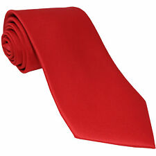 New Polyester Men's extra long Neck Tie only solid formal wedding prom party Red