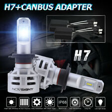 NOVSIGHT H7 60W 10000LM LED Headlight Bulbs Hi/Low Beam Kit Free Canbus Adapter