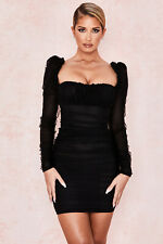 HOUSE OF CB 'Camille' Black Gathered Puff Sleeve Dress M 10 / 12 SS 20670