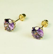 14k solid yell. lab. created gold 6mm Amethyst stud screw back earrings 1.75 tcw