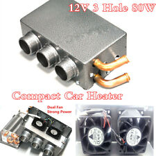 Universal 3 Hole Dual Fan Strong Power 12V 80W Iron Compact Car Heater 300m3/H