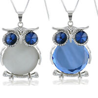 Women Rhinestone Plated Glass Owl Pendant Necklace Long Sweater Chain Jewelry