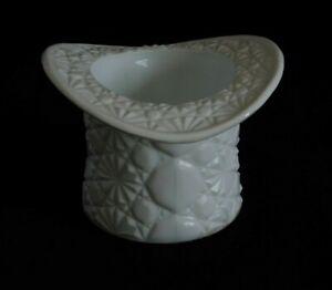 Vintage Retro White Milk Glass Fenton Top Hat Vase With Button & Daisy Pattern