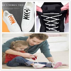 1 Pair No Tie Locked Lock Elastic Shoe Laces Lazy Sneakers Kid Adult Gym Running