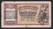 1945  Albania Banknotes. 100FRANGA(Italy) Ocupation. Overprint. R2.