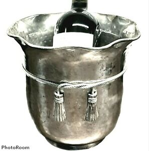 Vintage Silverplate Wine Chiller Ice Bucket - Rope & Tassel Motif - Champagne