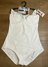 Womens Magic Cotton Shapewear White Bodysuit Size 36C
