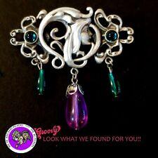 """""""JJ"""" Jonette Jewelry Silver Pewter 'Fairy Flowers stones purple ' Pin Brooch"""