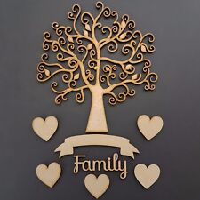 MDF Autumn Family Tree Set Kit with Hearts, Banner and Word- Wooden Guestbook