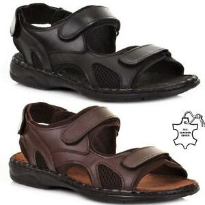 New Mens Leather Summer Sandals Walking Hiking Trekking Trail Sandals Shoes Size
