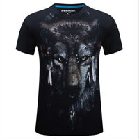 Wolf Animal Mens Graphic Short Sleeve Crew Neck Casual Cotton T-Shirt Tee Top
