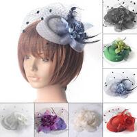 Women Fascinator Wedding Party Cocktail Ladies Headband Feather Flower Mesh Hat