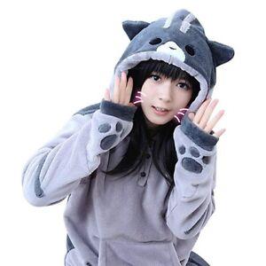 Neko Atsume Cute Quality Soft Cat Hoodie Cosplay Costume Ears Tail Sweatshirt L