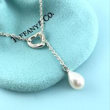 Tiffany & Co. Silver Elsa Peretti Open Heart Pearl Lariat Necklace (#1134)