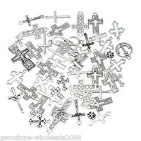 30PCS Wholesale W09  Mixed Silver Cross Shape Pendants  Charm Jewelry