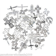 30PCS Wholesale W09  Mixed Silver Cross Shape Pendants  Charm Jewelry