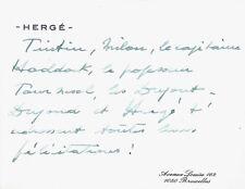 HERGE  Carte autographe signée / Tintin / Milou / Haddock / Tournesol ...