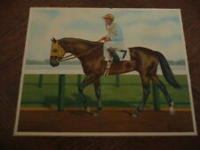 GRAVURE REPRODUCTION EN COULEURS IDUN CHEVAL DE COURSE JOCKEY F. BREWER jr. 1958
