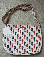 Bungalow 360 seahorse messenger bag new red blue cotton canvas retired print