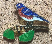Maine 2018 Odyssey of the Mind Pin - Sparkling Finch on Pine Tree Branch